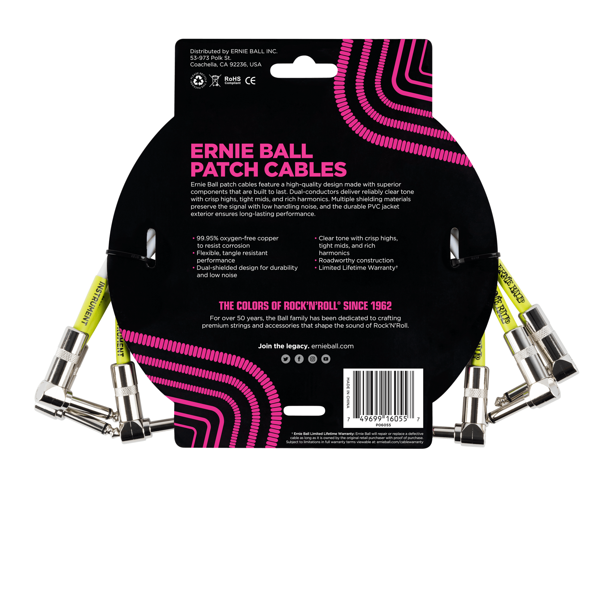 Ernie Ball - 3 Cables de 0.30 mts., Color: Blanco Angulado/Angulado Mod.6055_6