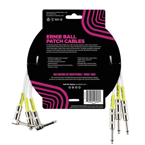 Ernie Ball - 3 Cables de 0.46 MTS., Color: Blanco Angulado/Angulado Mod.6056_7