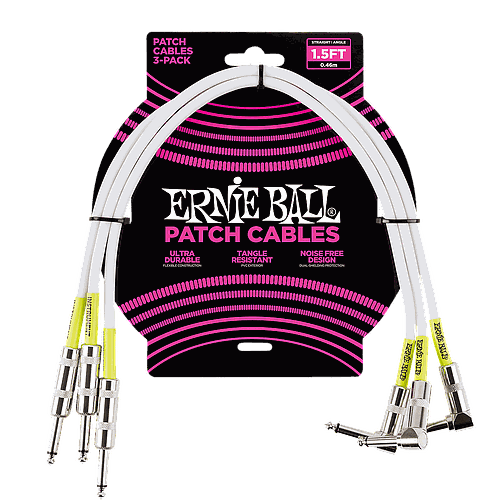 Ernie Ball - 3 Cables de 0.46 MTS., Color: Blanco Angulado/Angulado Mod.6056